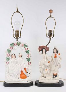 Two Staffordshire Porcelain Figural Group Lamps