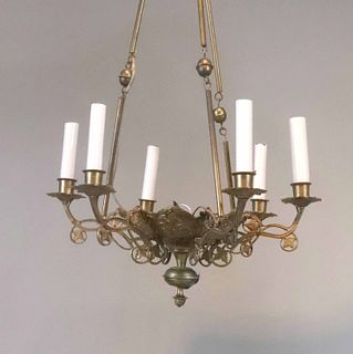 Gothic Revival Gilt-Metal Six-Light Chandelier