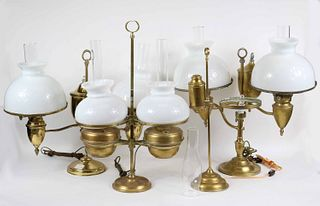 Four Brass Student Lamps