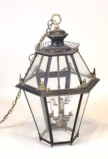 Black Painted Tole and Brass Hall Lantern