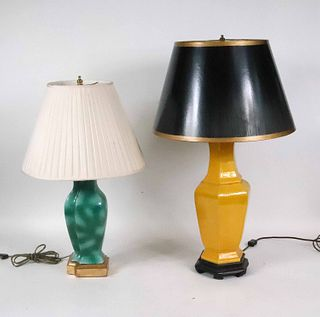Two Green and Yellow Glazed Porcelain Table Lamps
