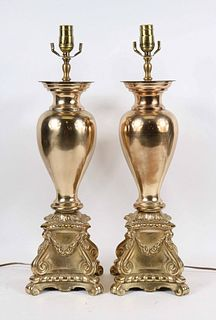 Pair of Neoclassical Style Brass Urn-Form Lamps