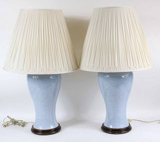 Pair of Blue Craquelure Glazed Table Lamps