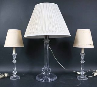Pair of Glass Candlestick-Form Table Lamps