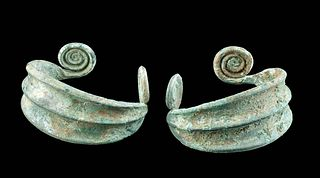 Pair of Greek Thracian Bronze Cuff Bracelets w/ Spirals