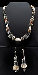 Phoenician, Roman, Islamic  Beaded Necklace & Earrings