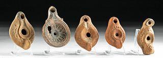 Lot of 5 Roman Pottery Oil Lamps