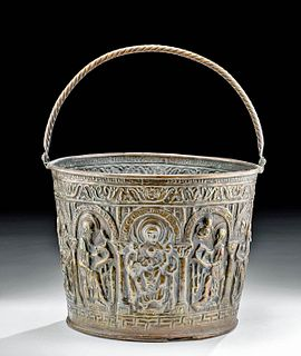 15th C. German Brass Holy Water Situla w/ Virgin Mary