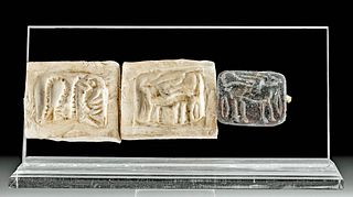 Ancient Syrian Stone Stamp Seal w/ Zoomorphs