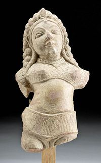 Sensuous 10th C. Indian Stone Torso Female Deity