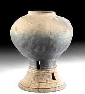 5th C. Korean Silla Greyware Vase - Kobae Form
