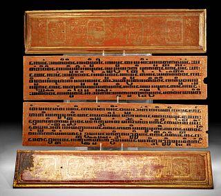 19th C. Burmese Gilded Wood Kammavaca Panels (4)