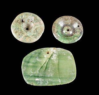 Lot of 3 Maya Jade Pieces - 2 Earspools & 1 Pendant