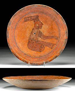 Large Maya Polychrome Plate, Seated Dignitary