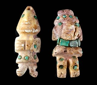 2 Moche Shell Figures w/ Turquoise Inlays