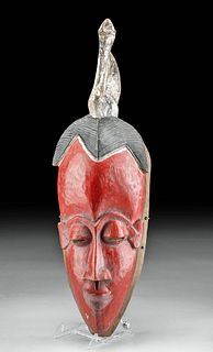 Early 20th C. Guro Painted Wood Female Gu Mask