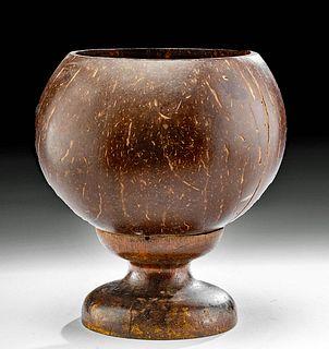 19th C. Hawaiian Coconut Shell Goblet w/ Wooden Foot