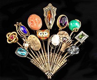 Vintage European Gold, Platinum & Gems Tie Pin Brooch