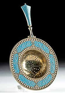 19th C. Russian Gilt Silver Tea Strainer w/ Cloisonne