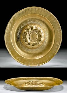 Late 15th C. European Brass Alms Plate with Inscription