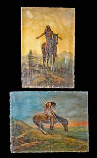 2 Antique American Paintings - Native American Themes