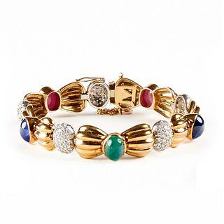 18K Gold Diamond Ruby Emerald Sapphire Bracelet