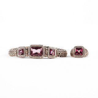John Hardy Sterling Diamond Bracelet & Ring Tourmaline