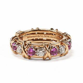 Tiffany 18K Diamond Pink Sapphire Ring