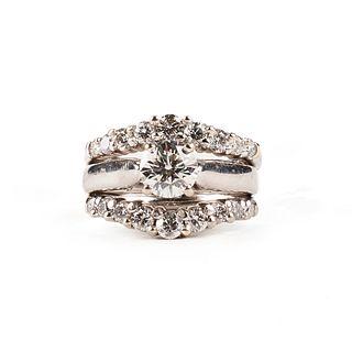 14K White Gold Diamond Wedding Set Ring