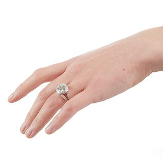 18K White Gold Diamond Engagement Ring 3.05 Ct Center
