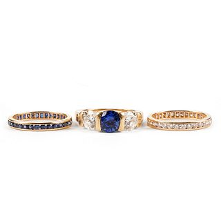 14K Sapphire & Diamond Wedding Set Rings