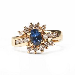 14K Gold Sapphire Diamond Ring - Vintage