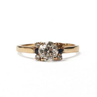 14K Gold European Cut Diamond Ring