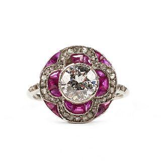 Platinum Diamond Ruby Art Deco Ring