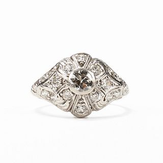 Mid-Century Platinum Diamond Ring