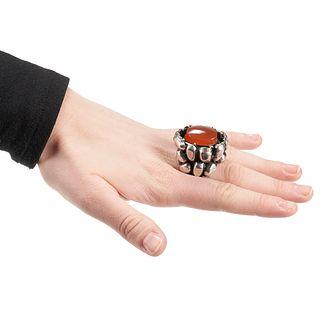 Rachel Gera Brutalist Silver & Carnelian Ring