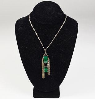 Theodor Fahrner Sterling Chrysoprase Necklace Art Deco