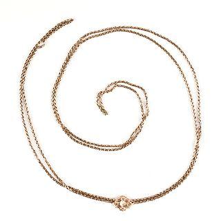 14K Gold Victorian Necklace Chain Slide