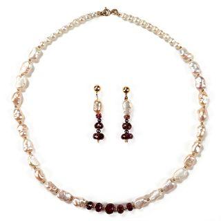 14K Gold Garnet Baroque Pearl Earrings & Necklace