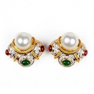 18K Gold Clip Back Earrings - Diamond Pearl Emerald Ruby