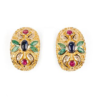 Pair of 18K Gold Colored Gemstone Earrings