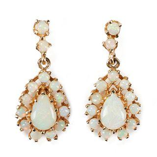 14K Yellow Gold White Opal Dangle Earrings