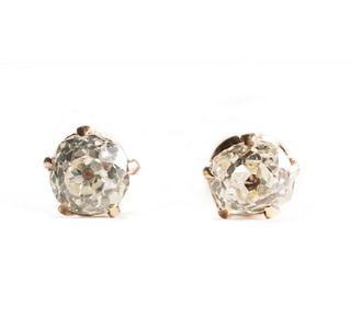 14K Gold & OMC Diamond Stud Earrings