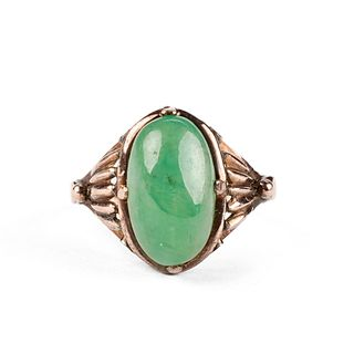 18K Gold Chinese Jade Ring - Jadeite Type A