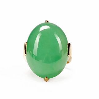 Gump's 18K Gold Jadeite Apple Green Ring A Grade