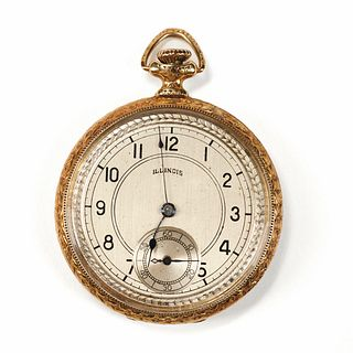 14K Gold Illinois Pocket Watch - 19 Jewels