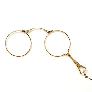 14K Gold Lorgnette Folding Opera Glasses