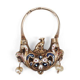 14K Yellow Gold Victorian Enameled Padlock - Jewelry box
