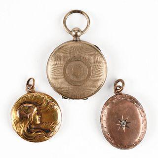 Grp: 3 Gold Locket Pendants
