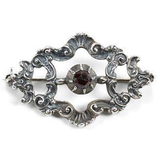 Silver Plated Spessartite Garnet Brooch
